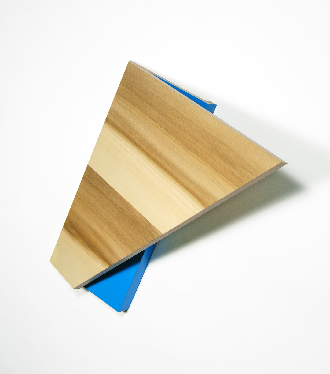 Richard Bottwin   Triangle.1   2018  Poplar veneer and acrylic paint on birch plywood  16 x 16 x 7 inches