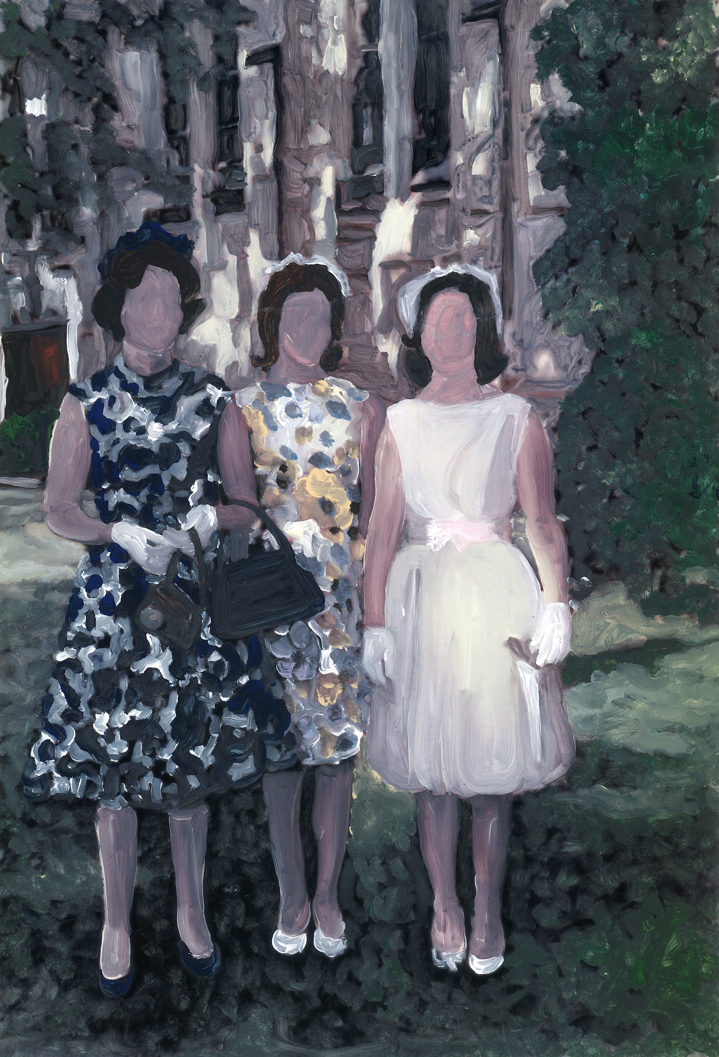 Christy Powers   mother and daughters   2018  Ink, gouache, watercolor, and acrylic on Yupo  Signed and dated by the artist,  verso   Image/sheet: 20 x 16 inches  Framed: 21 x 17 inches