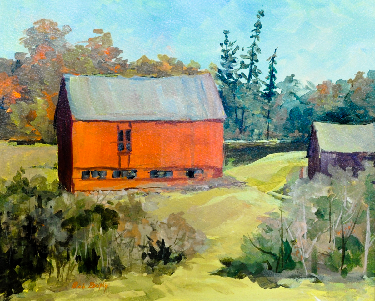 """""""Barns on a Hill""""  Acrylic painting by Bob Brophy"""