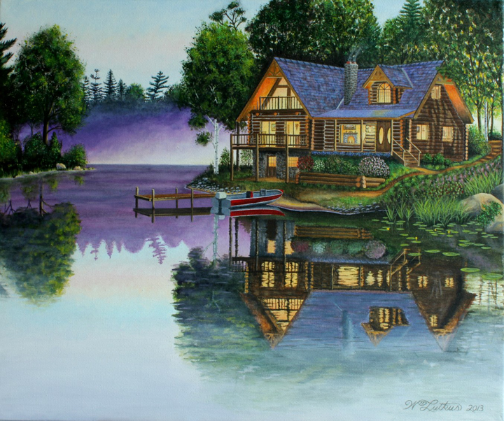 """Cabin on the Lake"" Acrylic painting by Bill Lutkus    Click here for more of Bill's paintings:    www.ten-2-oneartists.com/bill-lutkus"