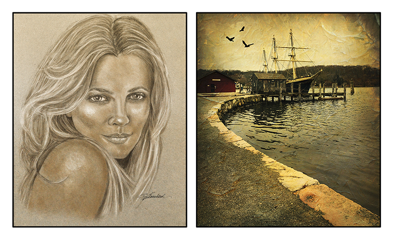 """""""Come Hither"""" Pastel painting by Cindy Blanchard • """"Ship-A-Shore"""" Photograph by Ron Blanchard"""