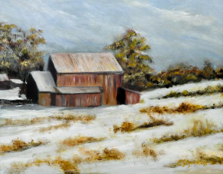 """""""Winter Barn"""" oil"""