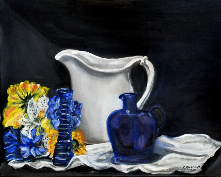 """Babcia's Wedding Pitcher"" oil"