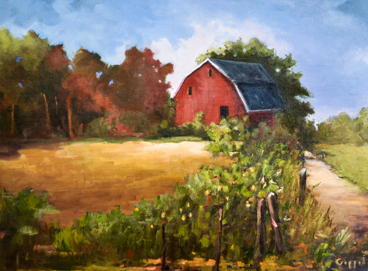 """""""Country Barn"""" oil"""