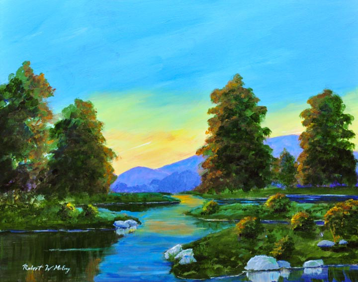 """Sunset on the Pomperaug"" acrylic"