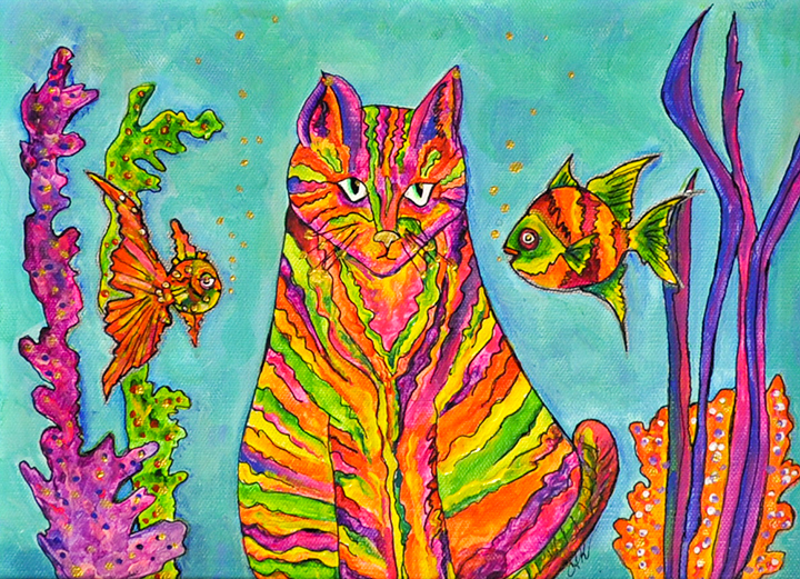 """Colorful Cat"" acrylic"