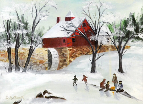 """Skating on the Old Mill Pond"" acrylic"