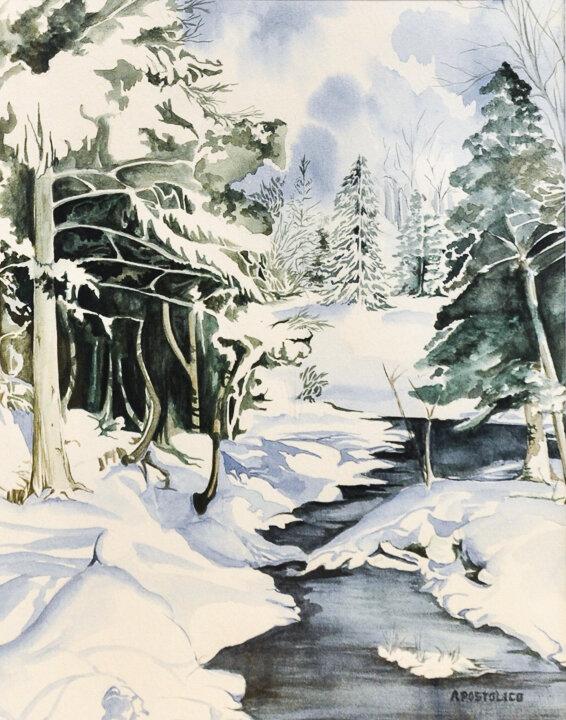 """""""Snowy Creek"""" ink wash"""