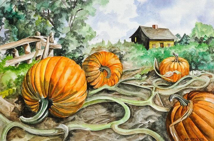 """Pumpkin Vines"" watercolor"