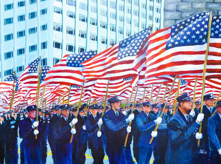 """Parade of Flags"" acrylic"