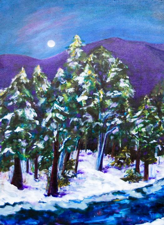 """""""Snow Moon"""" acrylic"""