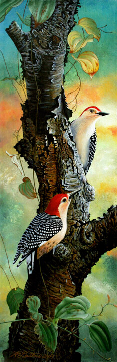 """Red Bellied Woodpeckers"" acrylic"