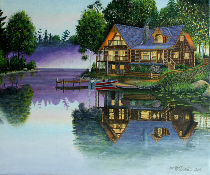 """Cabin on the Lake"" acrylic"