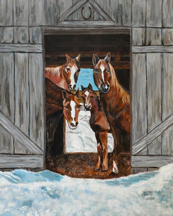 """""""Barn Horses"""" acrylic"""