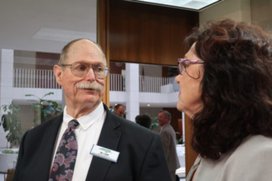 Friends of Residents' Executive Director, Bill Lamb with Raleigh Rep. Cynthia Ball (D) at the Legislative Building.  Photo Credit Rose Hoban, NC Health News.