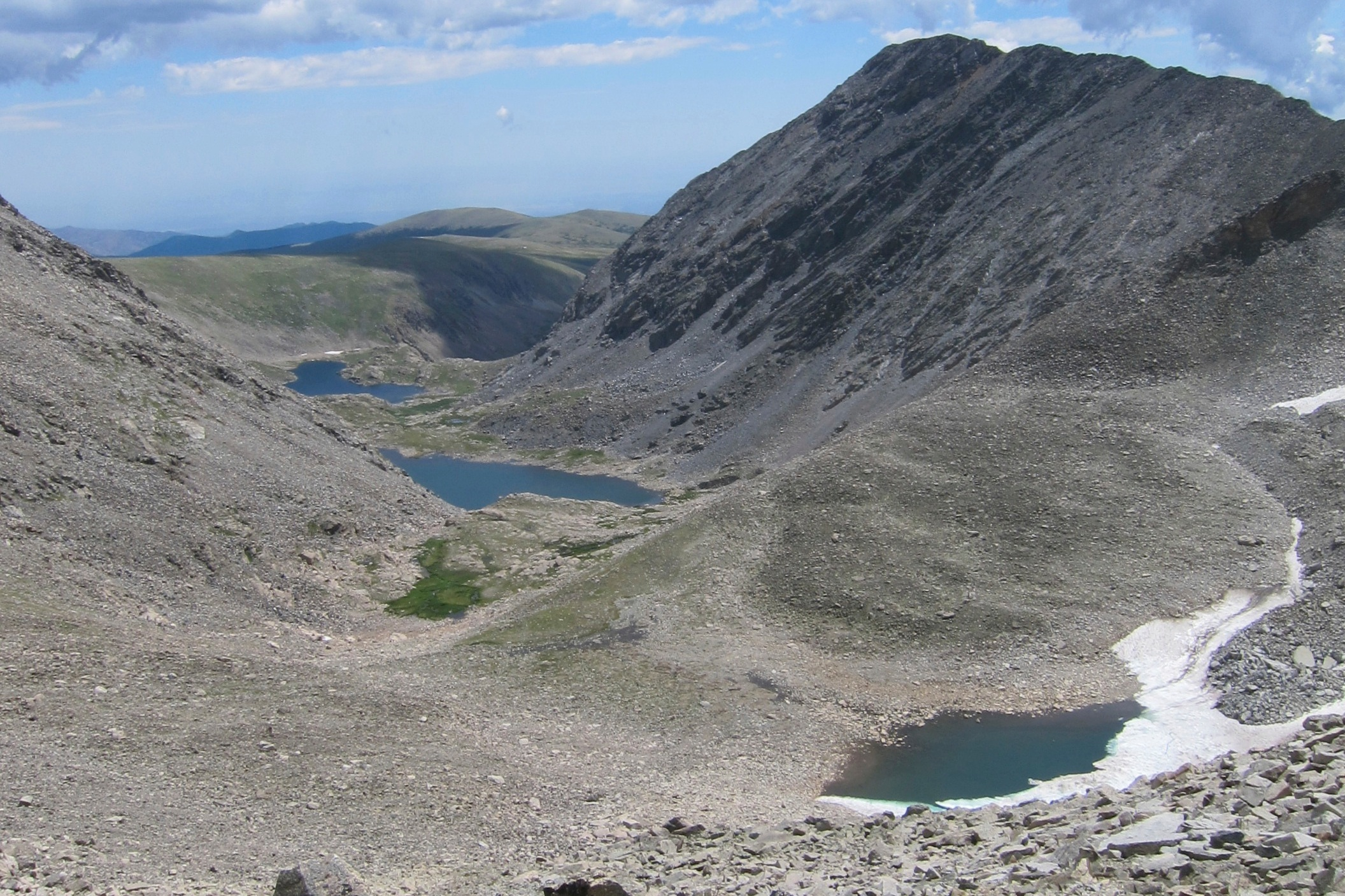 Green lakes valley - Mean Elevation: 3745 mThe continental, high mountain climate of the GLV has been recorded continuously at the D-1 meteorological station on Niwot Ridge for over 60 years and for shorter periods on the valley floor. South-facing slopes are warmer than north-facing slopes, which are underlain by discontinuous permafrost. Almost 80% of the approximately 1000 mm of recorded annual precipitation falls as snow.