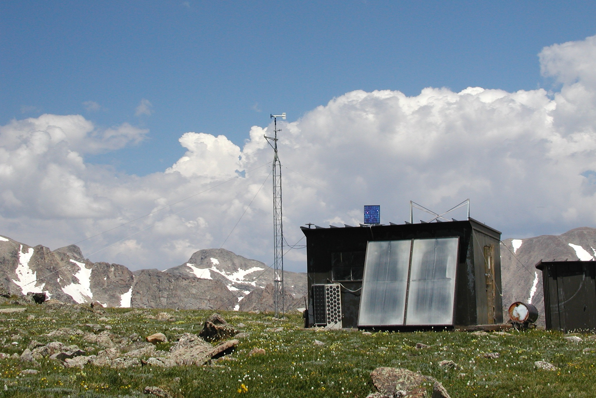 d1 - Station Elevation : 3739 mD1 is an alpine tundra site located 2.6 km from the Continental Divide. This is the highest continuously operating weather station in North America. Topographic setting: ridge-top. Climate data completeness is good from 1953 to the present. Climate parameters measured include temperature, relative humidity, solar radiation, barometric pressure, wind speed, wind direction, precipitation, soil moisture, and temperature.