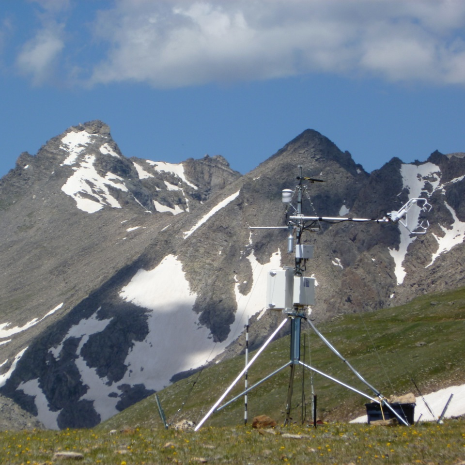 Tracing land-air exchange of carbon - Air samples taken since the 1960s on Niwot Ridge — the longest record in the continental US — show steadily increases in CO2. While most land areas act as a carbon sink, with plant growth taking in CO2 from the atmosphere, our measures of exchanges of carbon dioxide, water vapor, and energy show that the tundra is acting as a carbon source, putting carbon into the atmosphere. Why? CO2 release in the winter, with microbes are metabolizing old carbon, outweighs the plant uptake. We suspect some of the old carbon being released is from thawing permafrost!