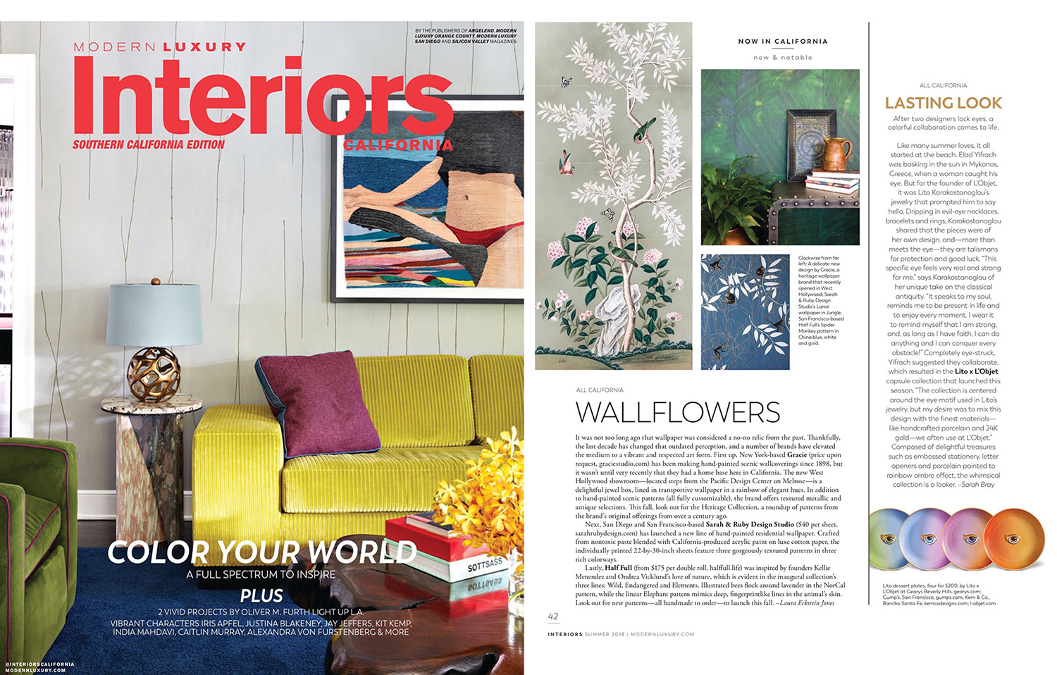 Sarah and Ruby's hand painted sheet wallpaper (Lanai pattern, Jungle green colorway) is shown in Modern Luxury Interiors magazine.