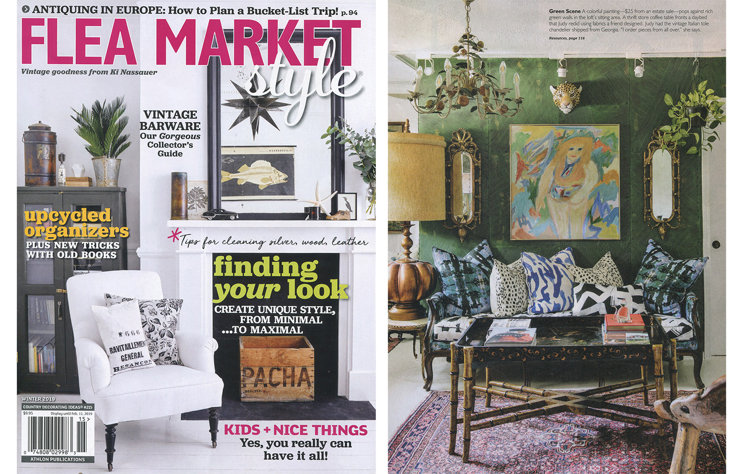 Sarah and Ruby's Lanai Wallpaper in Jungle (green) is beautifully styled by Judy Aldridge as a feature wall this sitting room shown in Flea Market Style magazine.