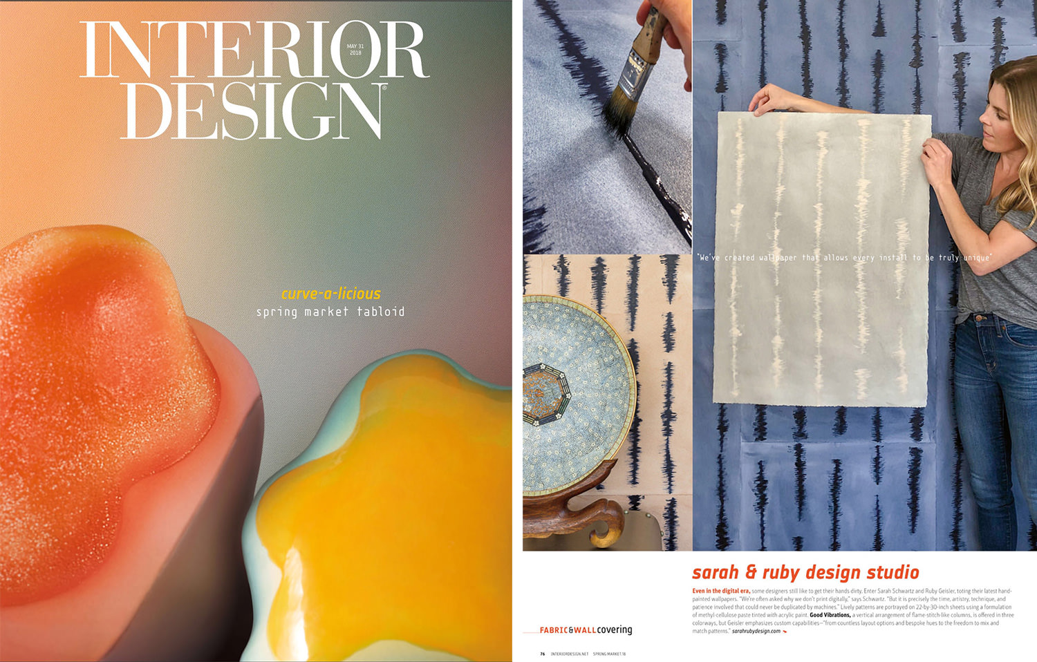Good Vibrations handpainted sheet wallpaper is shown in Interior Design magazine.