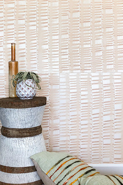 Low Tide Hand Painted Sheet Domino-Style Wallpaper - shown in Blush