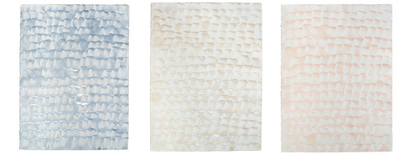 Cirro handpainted sheet wallpaper comes in three colorways: Mist (blue), Dune (sandy beige), and Sunrise (coral pink)