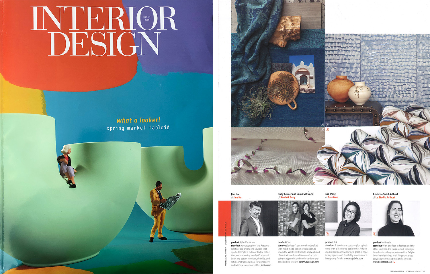 Sarah and Ruby's handpainted wallpaper Cirro in Mist (blue) is shown in Interior Design Magazine.