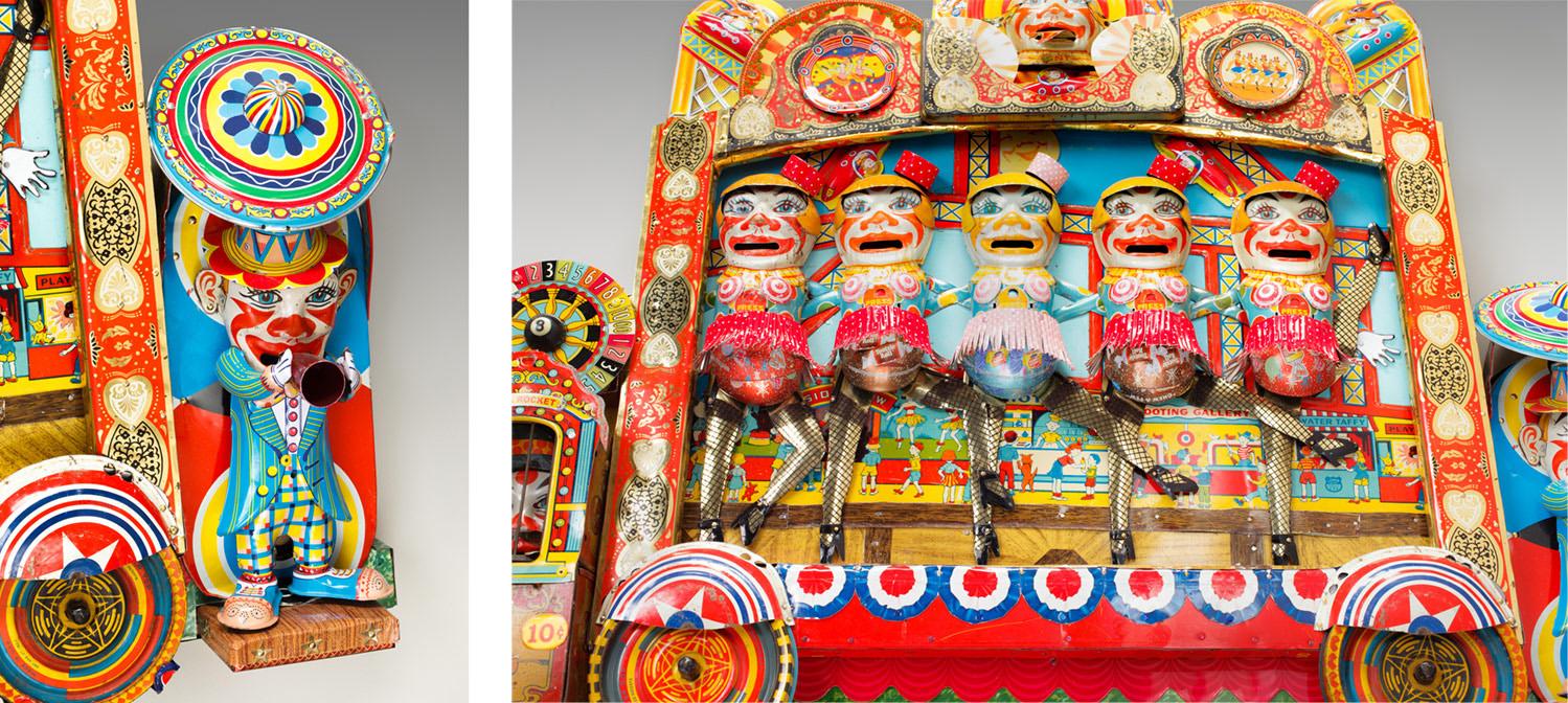 """Detail 1: Clone Clown Carnival  25""""l x 29.5""""w x 3.75""""d"""