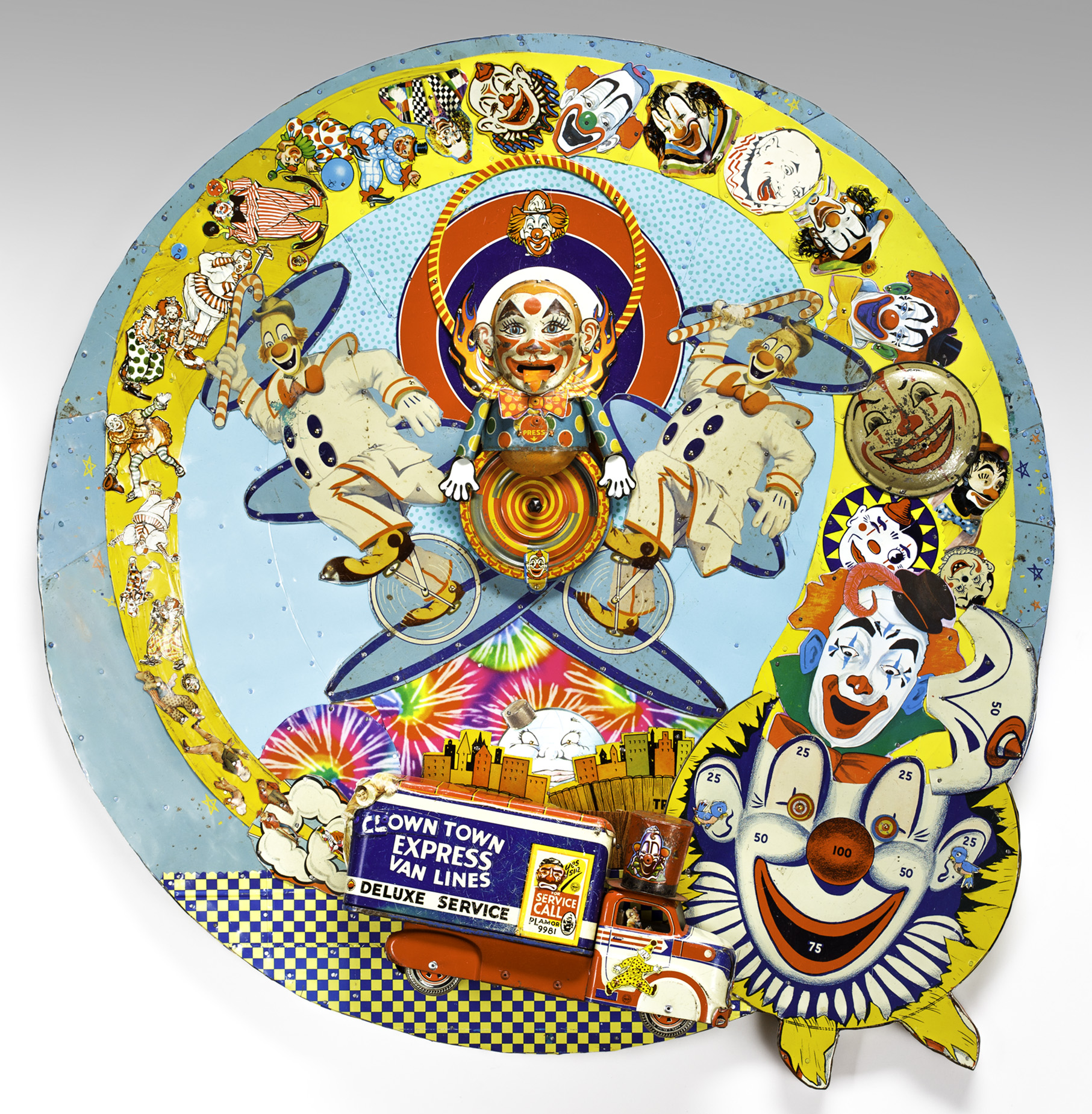 "Life Cycle of Clowns  30"" diameter x 3.5 ""d"