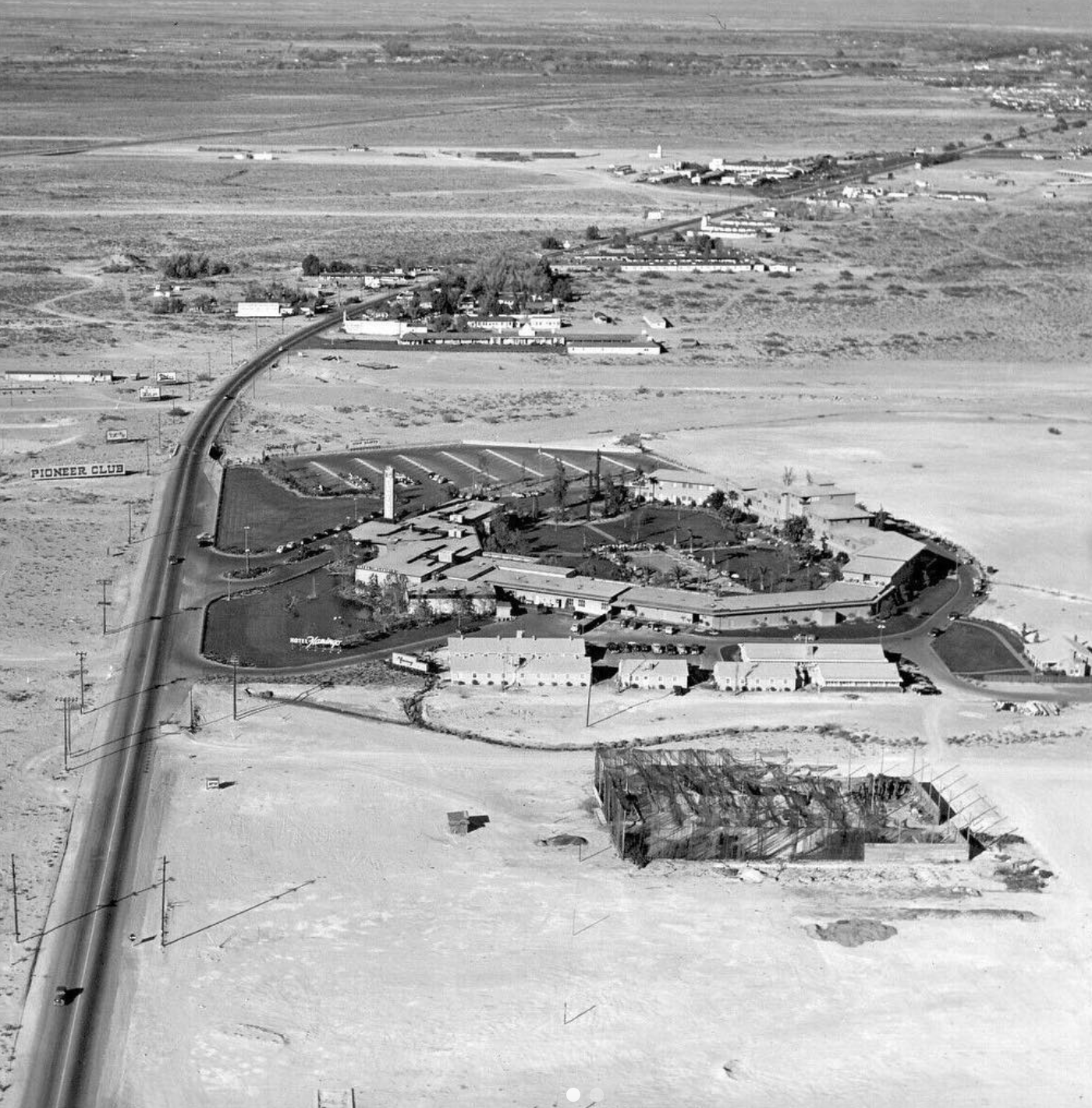 Over the Flamingo, 1949. This is 70 years ago, looking north over a 2-lane Las Vegas Strip/Hwy 91. The second photo is 1952. The Strip has been widened, and the Sands is under construction. Photo by Las Vegas News Bureau.