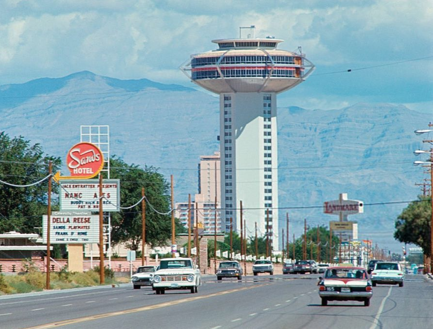 Paradise Rd, July 1967. The Landmark is unfinished, still two years from opening. Turn left to get to the Sands. Nancy Ames, Della Reese performing. Unknown photographer.    #vintagevegas    © Vintage Las Vegas Instagram