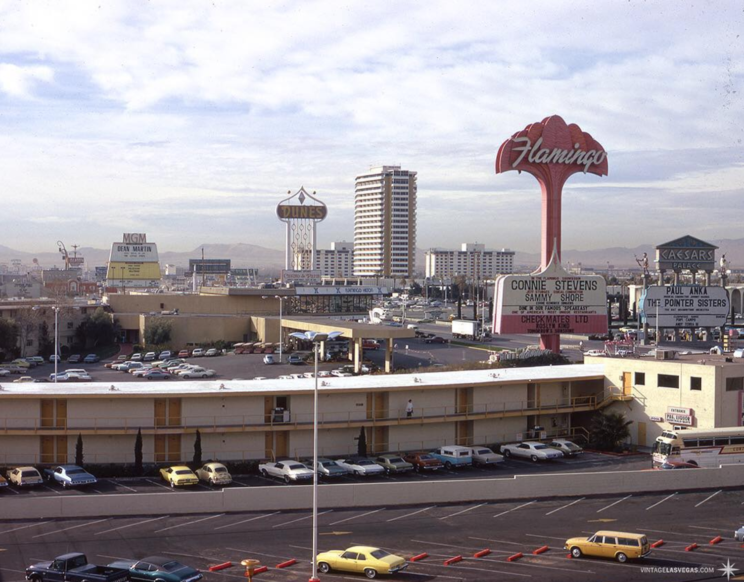1974, morning view from Holiday Inn. This was taken from the first tower at what is now Harrahs, looking south, Flamingo Capri Motel in the foreground. © Vintage Las Vegas Instagram