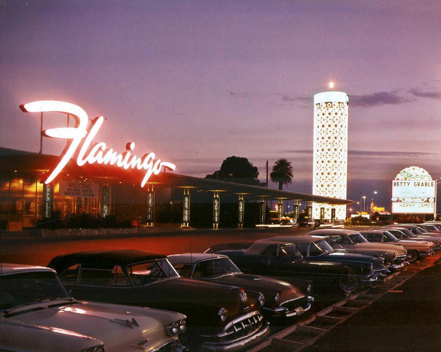 Flamingo, 1959. Classic, mid century Las Vegas captured by a photographer with the LV News Bureau. © Vintage Las Vegas Instagram