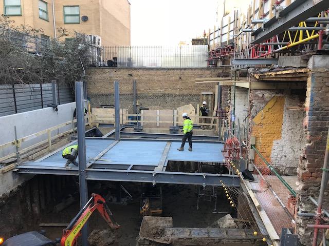 Rear Couryard Extension Steelwork & Grounmd Floor Deck in Construction.jpg