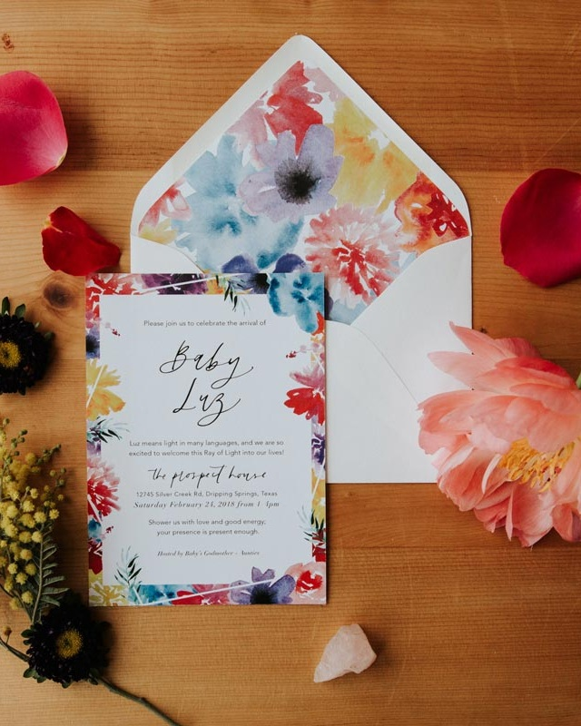 Baby Luz - This semi-custom modern calligraphy invitation features floral watercolor illustrations in bright colors and traditional calligraphy lettering, definitely a perfect suite for your baby shower that your guests will remember forever!