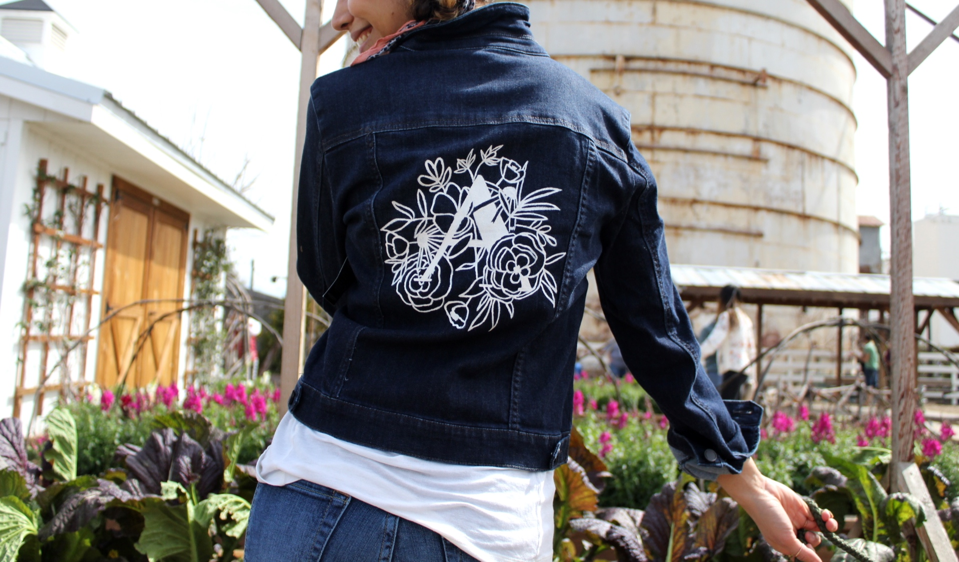custom painted denim jacket  @Magnoliamarket