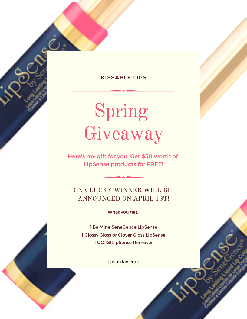 Enter the Kissable Lips Spring Giveaway for a chance to win $50 worth of LipSense  for FREE!
