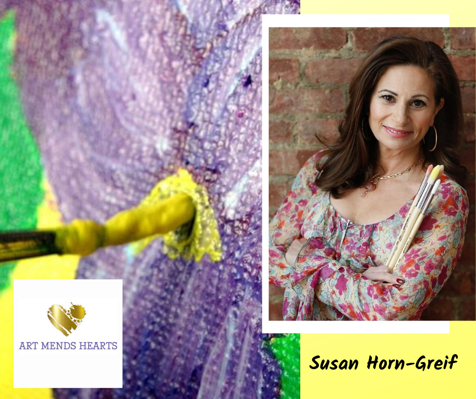 Susan Greif  (www.ArtMendsHearts.com)  is a Creative Transformational Expert and Healing Arts Professional who uses the expressive, creative and healing arts to help women and children find emotional freedom from anxieties that kept them feeling paralyzed, panicked and in pain. Her clients learn how to let go of anxiety, depression, trauma, abuse, relationship issues, eating disorders and learning disabilities.