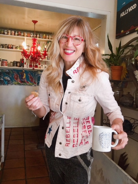Angie Weihs in custom Rebelle denim jacket and coffe mug