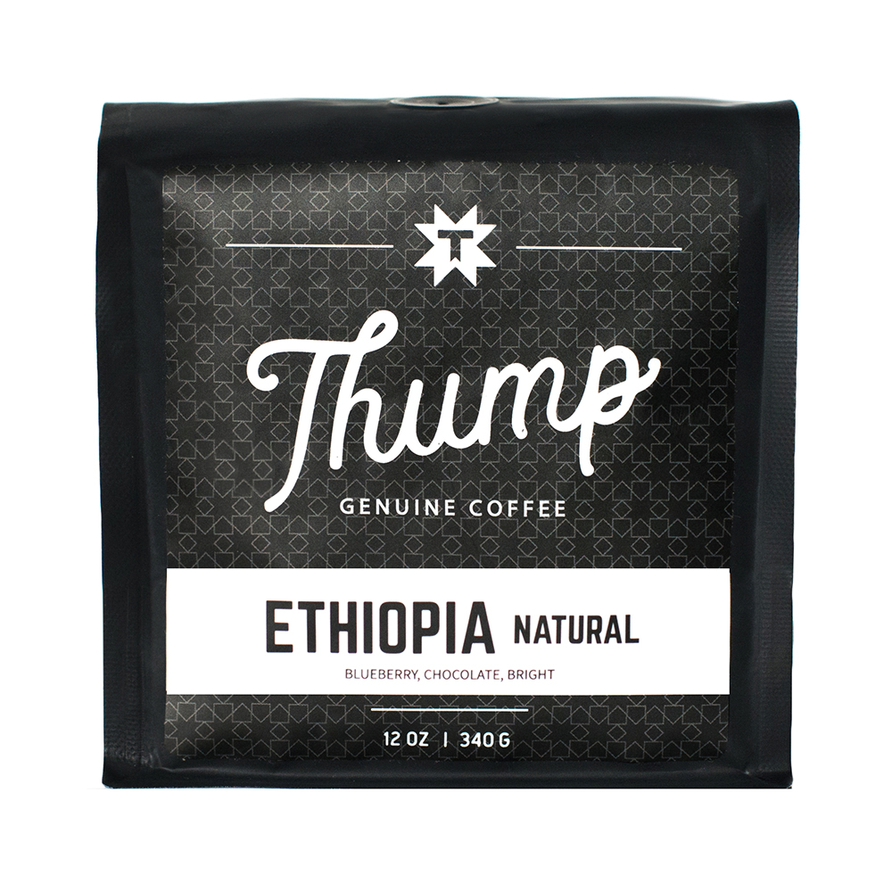 Ethiopia Natural - CUPPING NOTESBlueberry, Chocolate, BrightREGION: SNNPELEVATION: 1900 – 2100 metersVARIETAL: Indigenous heirloom cultivarsPROCESSING: Natural