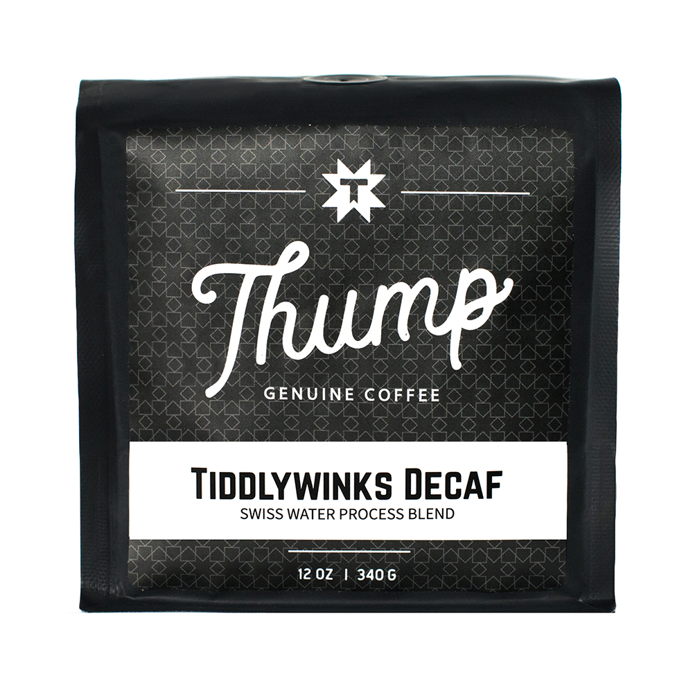 Tiddly-Winks Swiss Water Decaf - WATER PROCESSED DECAFAn unbelievably delicious cup of coffee, that just so happens to be decaf.CUPPING NOTESChocolate, Graham Crackers, RaisinsPROCESSINGwater- decaffeinated without the use of solvents.