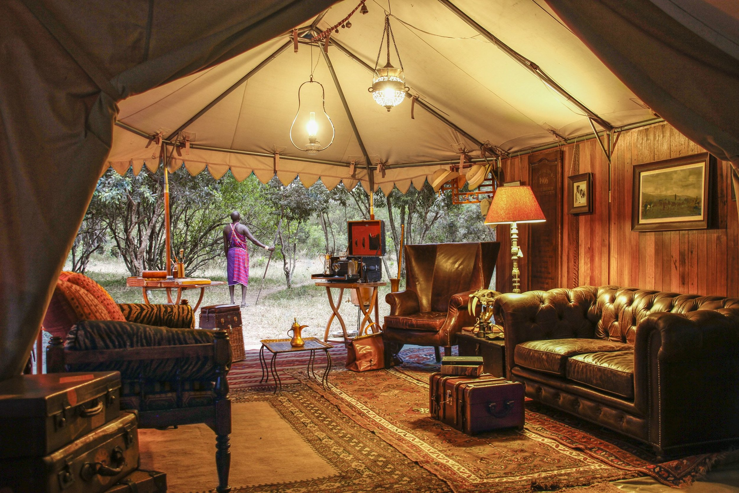"The flagship camp of the ""Out of Africa' Safari has been designed by legendary guide Don Young of Newland Tartleton Safari"