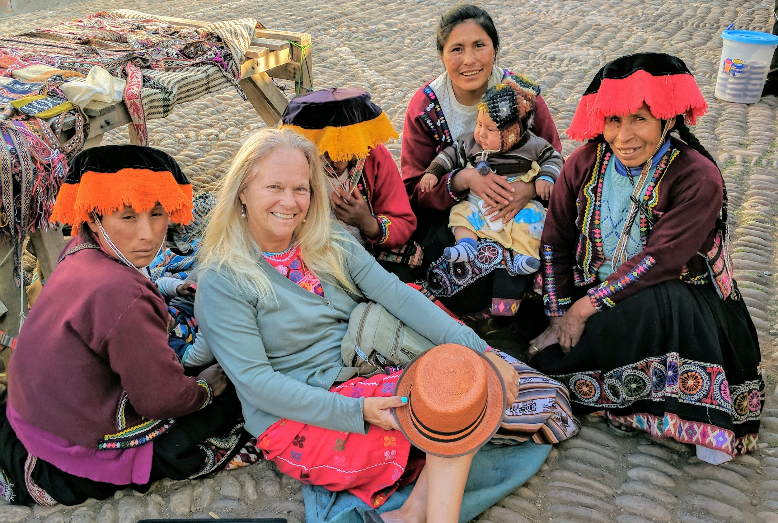 In the Sacred Valley of Peru, Bibi commissioned a Quechua-speaking artisans to 'illustrate' her children's book with woven belts that use symbols to tell a story.
