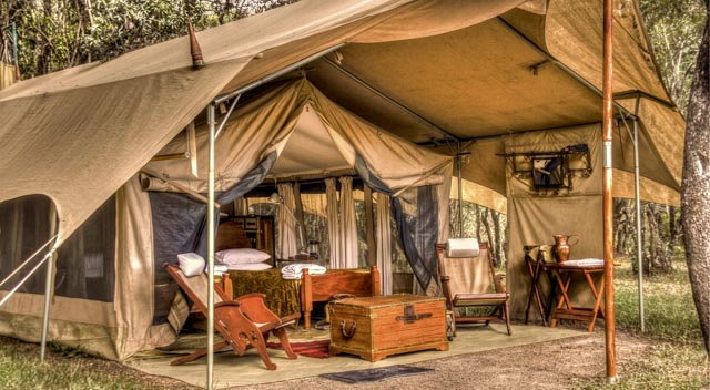 Vintage style canvas tents include mod-cons like flush toilets.