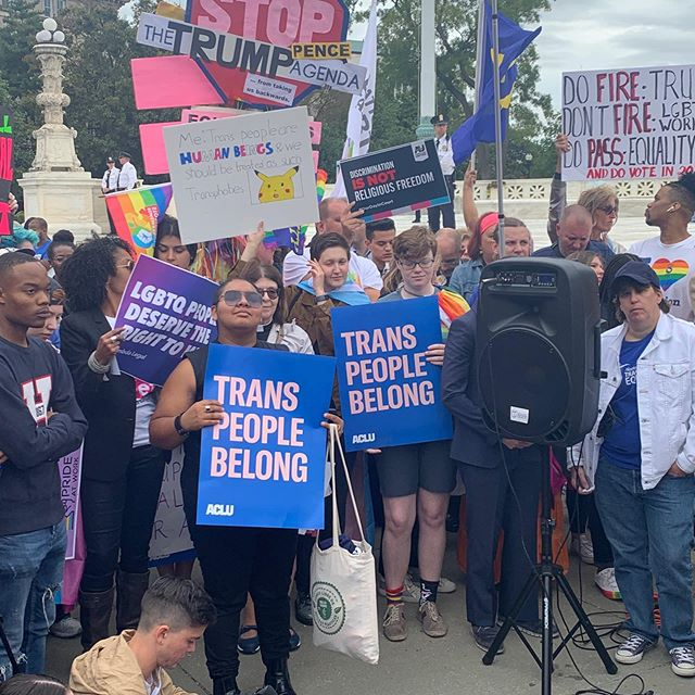 VP, Steph Niaupari at United States Supreme Court Building. Trans' rights are human rights!