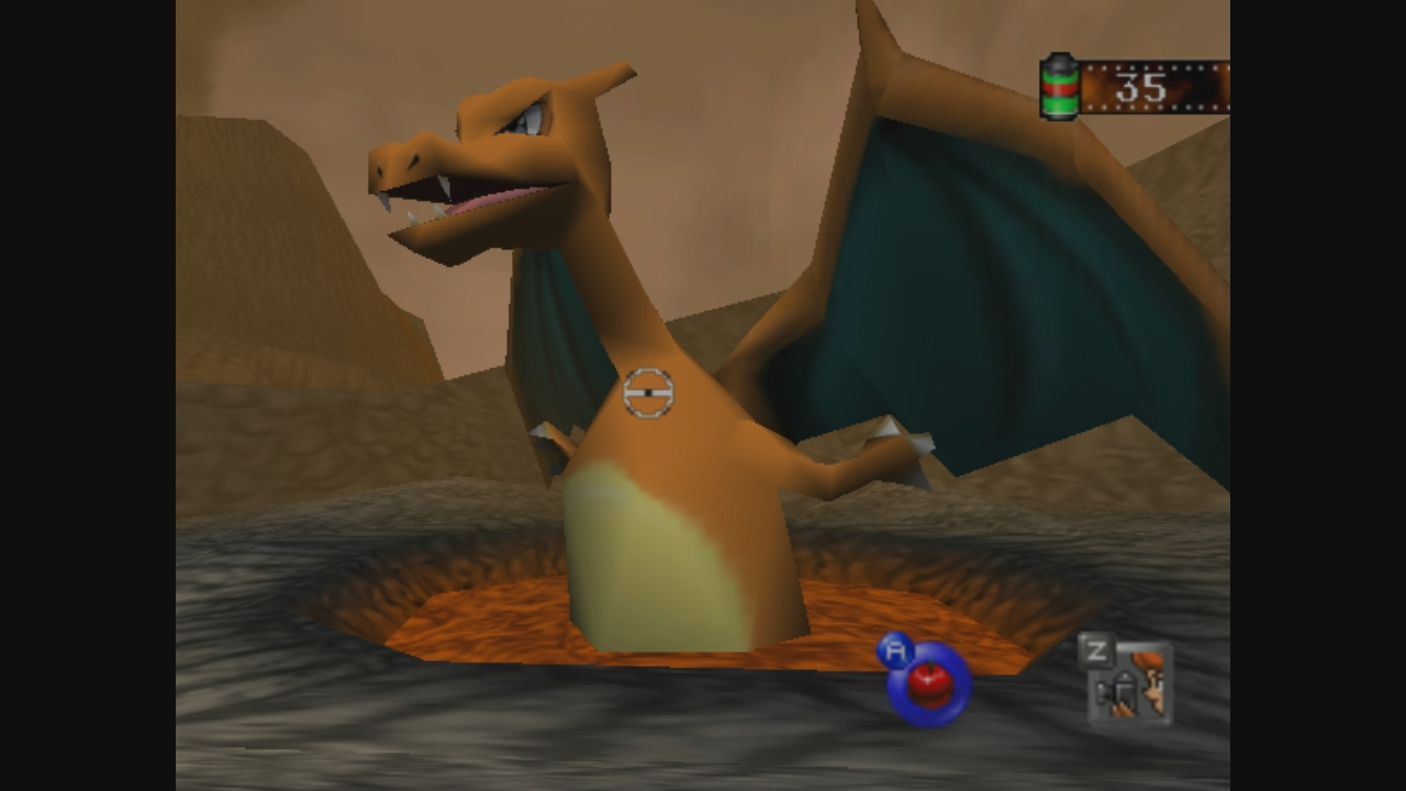 You evolve Charmeleon by pushing him into this pool of lava. Such deep lore.