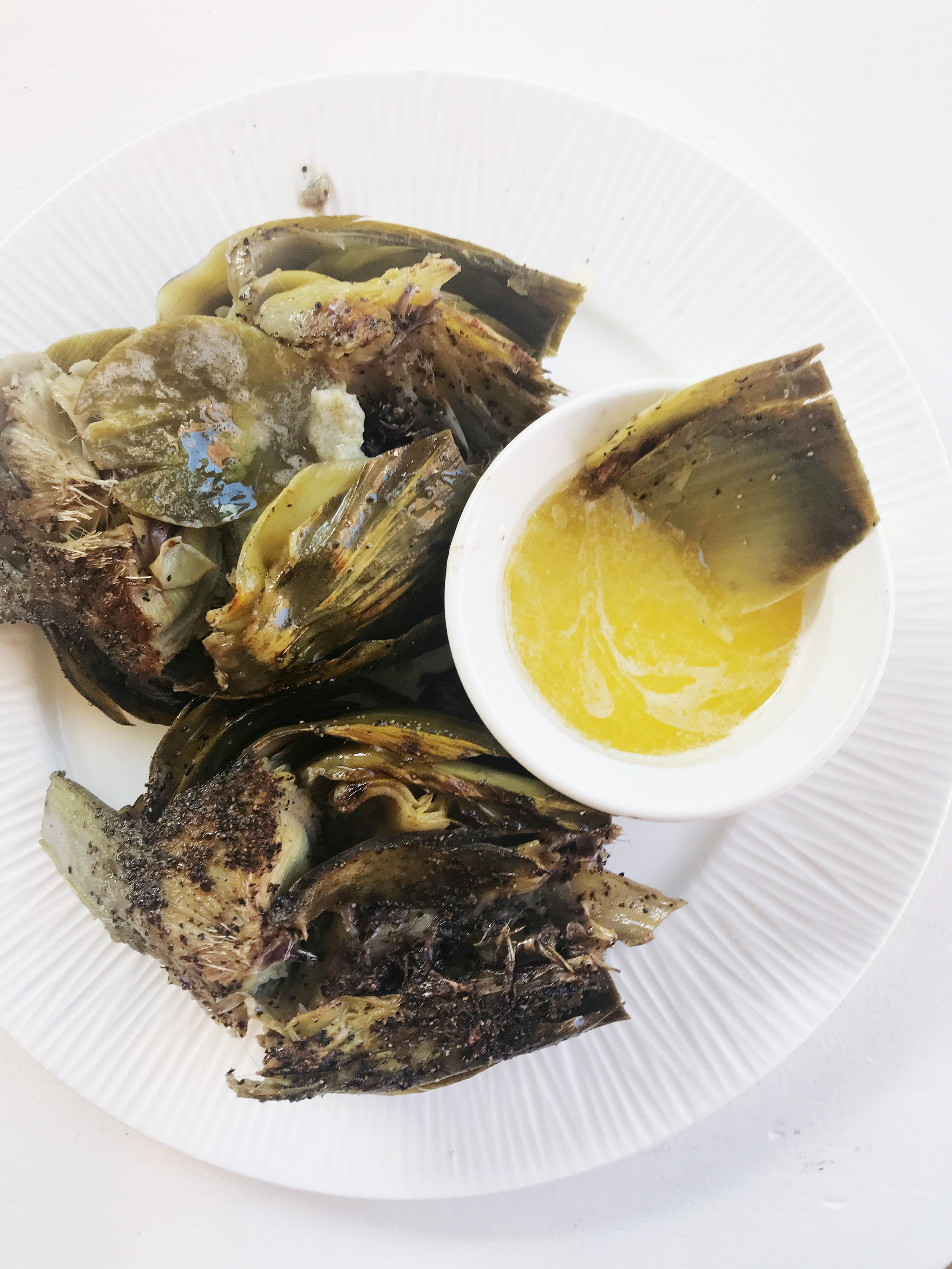Iron Skillet Artichoke served with lemon butter!Can you tell I really like pepper?!!