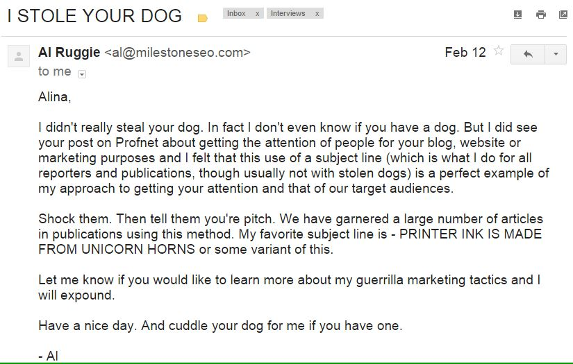 A great marketing email example