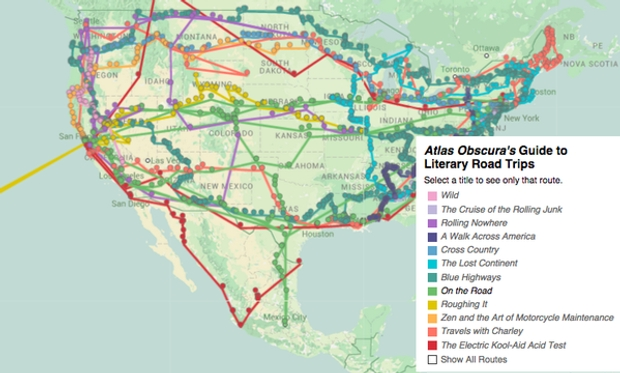 """""""The Obsessively Detailed Map of American Literature's Most Epic Road Trips,""""  Atlas Obscura , July 20, 2015"""